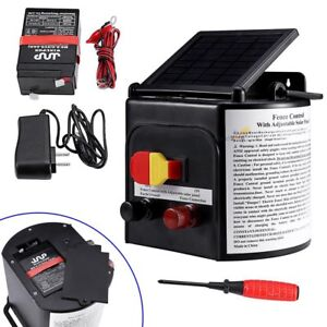5km Solar Powered Electric Fence Charger Energiser Farm Horse Adjustable Control