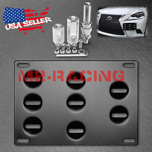 Front Bumper License Plate Bracket Tow Hook Screw Mounting Relocation Holder Jdm