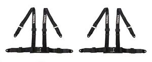 2 X Tanaka 4 Point New Type Buckle Sports Harness Seat Belt Black