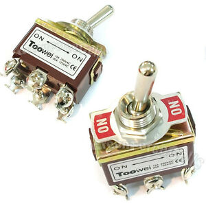 20 On on Dpdt Toggle Switch Car Latching 15a 250v 20a 125v Ac Heavy Duty T702bw