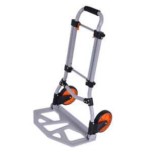 Folding Dolly Hand Truck Cart Collapsible Push Trolley Luggage 150 Lb Capacity