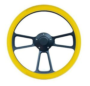 Hot Rod Street Rod Rat Rod Truck Yellow Black Steering Wheel Horn Adapter