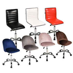 Home Office Chair Mid Back Armless Rolling Adjustable Swivel Computer Desk Task
