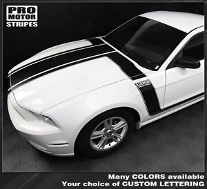 Ford Mustang 2013 2014 Boss 302 Style Hood Side Stripes Decals Choose Color