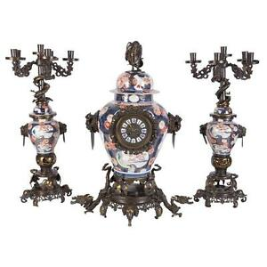French Japonisme Patinated Bronze Japanese Imari Porcelain Clock Garniture Set