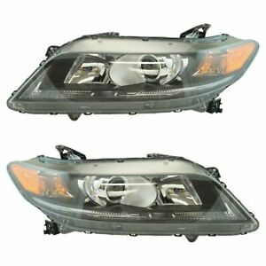 Halogen Headlight Lamp Assembly Lh Rh Pair For Honda Accord Coupe 2 4l New