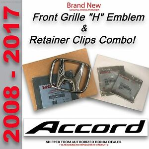 Oem Honda Accord 2dr Coupe 4dr Sedan Front Grille H Emblem Retainer Clips
