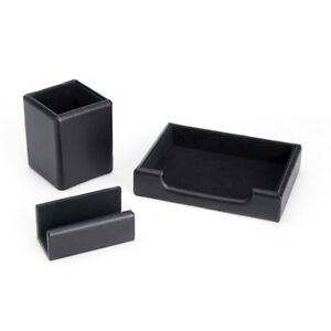 Royce Leather Desk Set Pen Cup Note Tray Card Holder Black Rl office 2