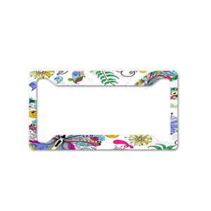 Colored Butterflies With Flower Auto Car License Plate Frame Tag Holder 4 Hole
