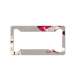 Japanese Pattern Auto Car License Plate Frame Tag Holder 4 Hole