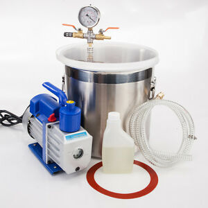 2 Gallon Vacuum Chamber 3cfm 1 4hp Single Stage Pump To Degassing Silicone Kit