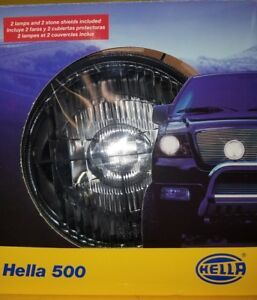 Hella 500 Driving Light Kit H3 Bulbs New Off road Protective Covers
