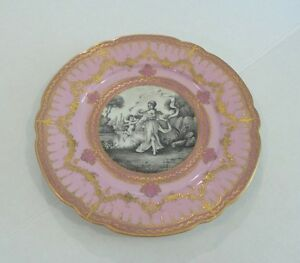 Stunning 19th C Paris France Porcelain Portrait Cabinet Plate Gilded Decor