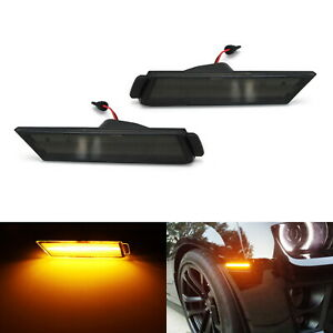 Smoked Lens Led Front Side Marker Lamps W amber Led Light For 10 15 Chevy Camaro