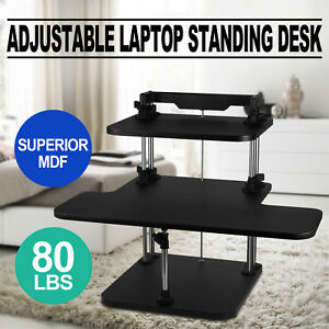 3 Tier Adjustable Computer Standing Desk Stand Up Portable Height Adjustable