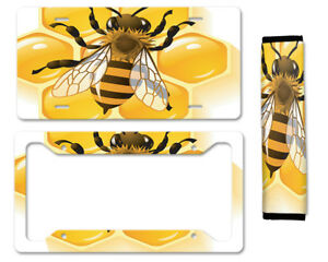 Bee Auto Car License Plate Frame Seat Belt Cover Gift Set