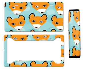 Cute Funny Fox Auto Car License Plate Frame Seat Belt Cover Gift Set