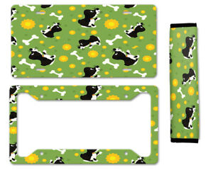 Cute Puppy Auto Car License Plate Frame Seat Belt Cover Gift Set