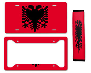 Albania Auto Car License Plate Frame Seat Belt Cover Gift Set