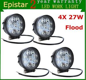 4x 27w Round Flood Led Work Light Fog Lamp Off Road Driving Suv Ute 4wd Truck