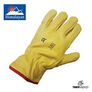 X10 Pairs Himalayan H310 Fleece Lined Leather Winter Thermal Cold Work Gloves