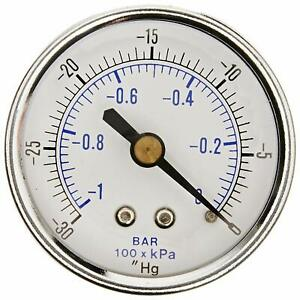 Dry Pressure Vacuum Gauge 30 0 Hg 1 4 Npt Back Mount For Air Water Oil 2 Dial