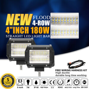 10d Pair 4inch 360w Led Work Light Bar Quad Row Flood Off Road 4wd Driving Light