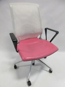 Vitra Meda Office Chair W White Mesh And Pink Leather Seat Great Condition