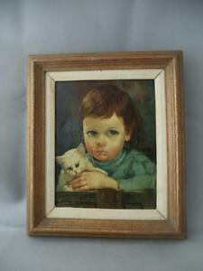 Vtg Italy Italian Giovanni Bragolin Crying Boy W Cat Canvas Oil Painting Signed