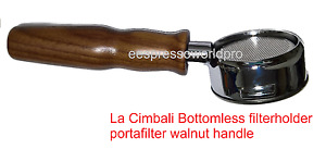 La Cimbali Bottomless Filter Holder Portafilter With Wooden Walnut Handle