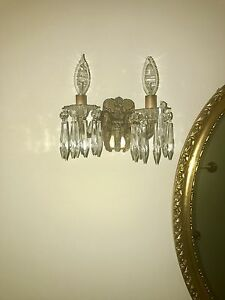 Antique Brass Crystal Wall Sconces