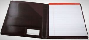 Leather Writing Pad Notebook Name Id Tag Business Slim Card Pocket Pen Holder
