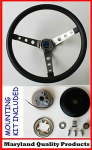Dodge Dart Charger Demon Black Steering Wheel 15 Round Holes Stainless Spokes