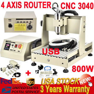 4 Axis 3040 Cnc Router Engraving Machine Wood Engraver Ball screw Usb