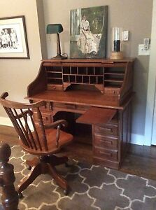 Solid Oak Rolltop Desk With Matching Swivel Chair Dovetail Construction
