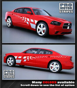 Dodge Charger Checkered Rally Racing Side Stripes Decals 2011 2012 2013 2014