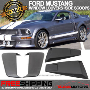 Fits 05 09 Ford Mustang Eleanor Side Window Louvers Fender Scoop Pu