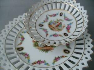 Antique Germany Dresden Flowers Couple Reticulated Porcelain Plate Bowl Set