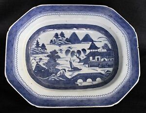 Antique Chinese Export Canton Blue White 13 1 2 X 10 3 4 Platter 19th Century