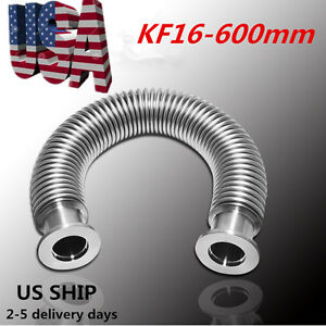 Kf 16 Flexible Hose Stainless Steel 600mm Vacuum Corrugated Bellows Pipe Tube Us