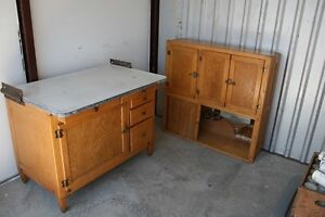 Oak Hoosier Cabinet W Flour Sugar Bin Original Charts 10pc Good Condition