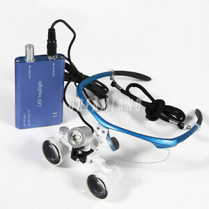 Dental Surgical 3 5x Binocular Magnifier Glasses Loupes Led Head Light Blu usa