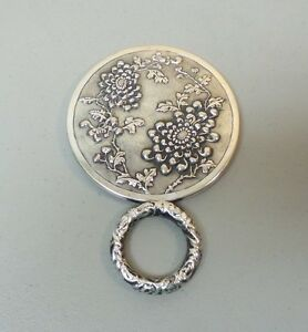Gorgeous Antique Chinese Export Sterling Silver Chased Hand Mirror C 1919