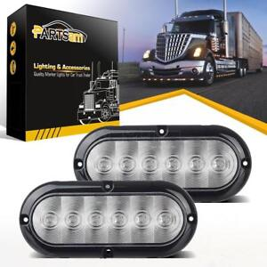 2 Trailer Truck Red Led Surface Mount 6 Oval Stop Tail Brake Lights Clear Lens