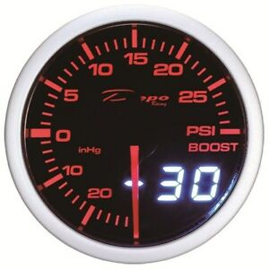60mm Depo Racing Digital Turbo Boost Gauge 30 Psi Wa6001led Universal White Red