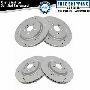 Nakamoto Front Rear Performance Drilled Slotted Zinc Coated Rotor Kit For Gm