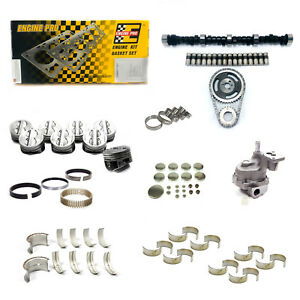 Sbc Chevy 350 5 7l Stage 3 High Perf Master Engine Rebuild Kit Camshaft Pistons