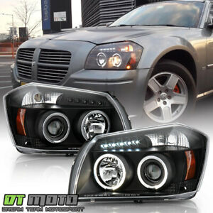Blk 2005 2006 2007 Dodge Magnum Led Halo Projector Headlight 05 06 07 Left Right