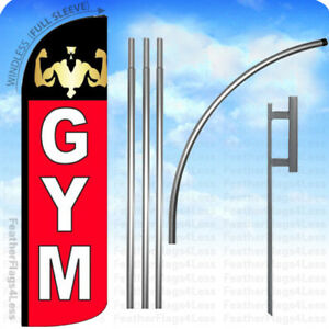 Gym Windless Swooper Flag Kit Feather Fitness Banner Sign Rq