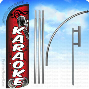 Karaoke Windless Swooper Flag Kit Feather Banner Sign Rq
